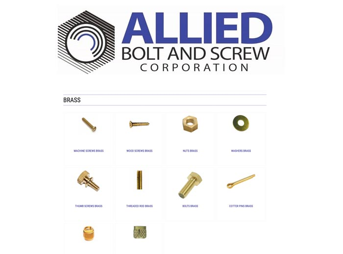 Allied Bolt & Screw carries a full line of brass machine screws, wood screws, nuts, threaded rods, washers, sink inserts, thumb screws and cotter pins.